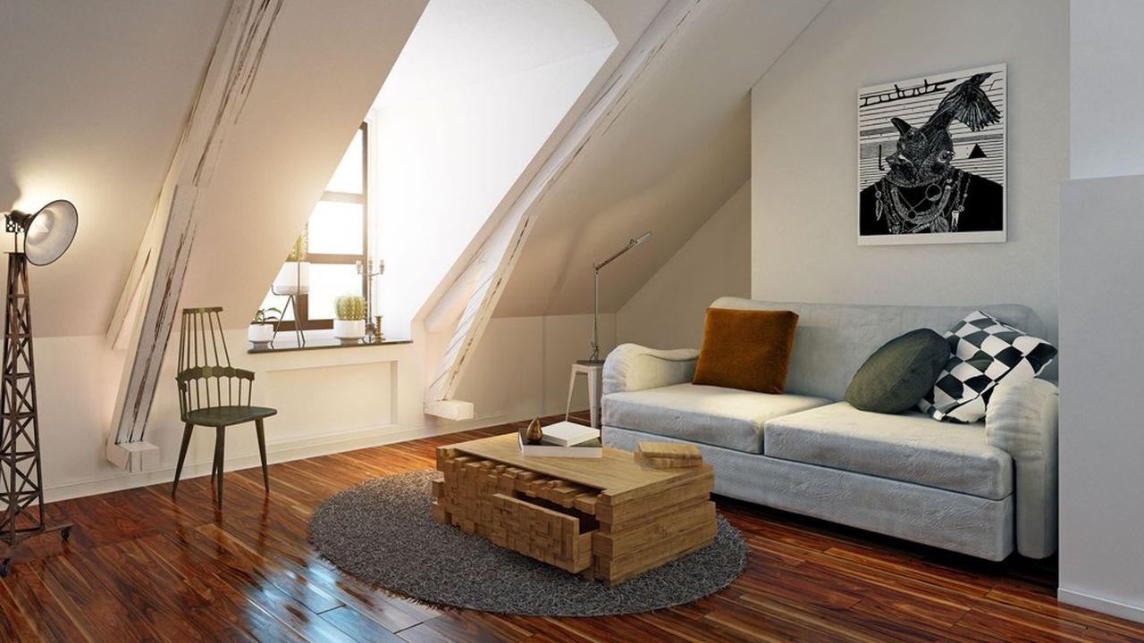 modern attic interior. 3d design rendering