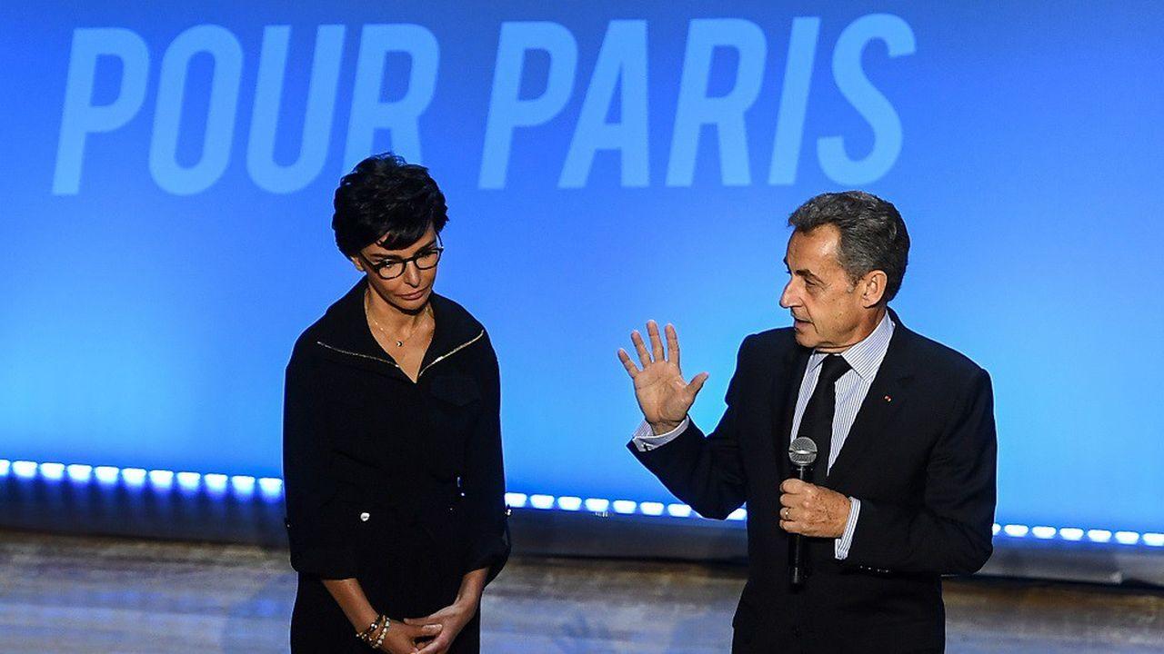 Rachida Dati et Nicolas Sarkozy lundi soir, salle Gaveau.
