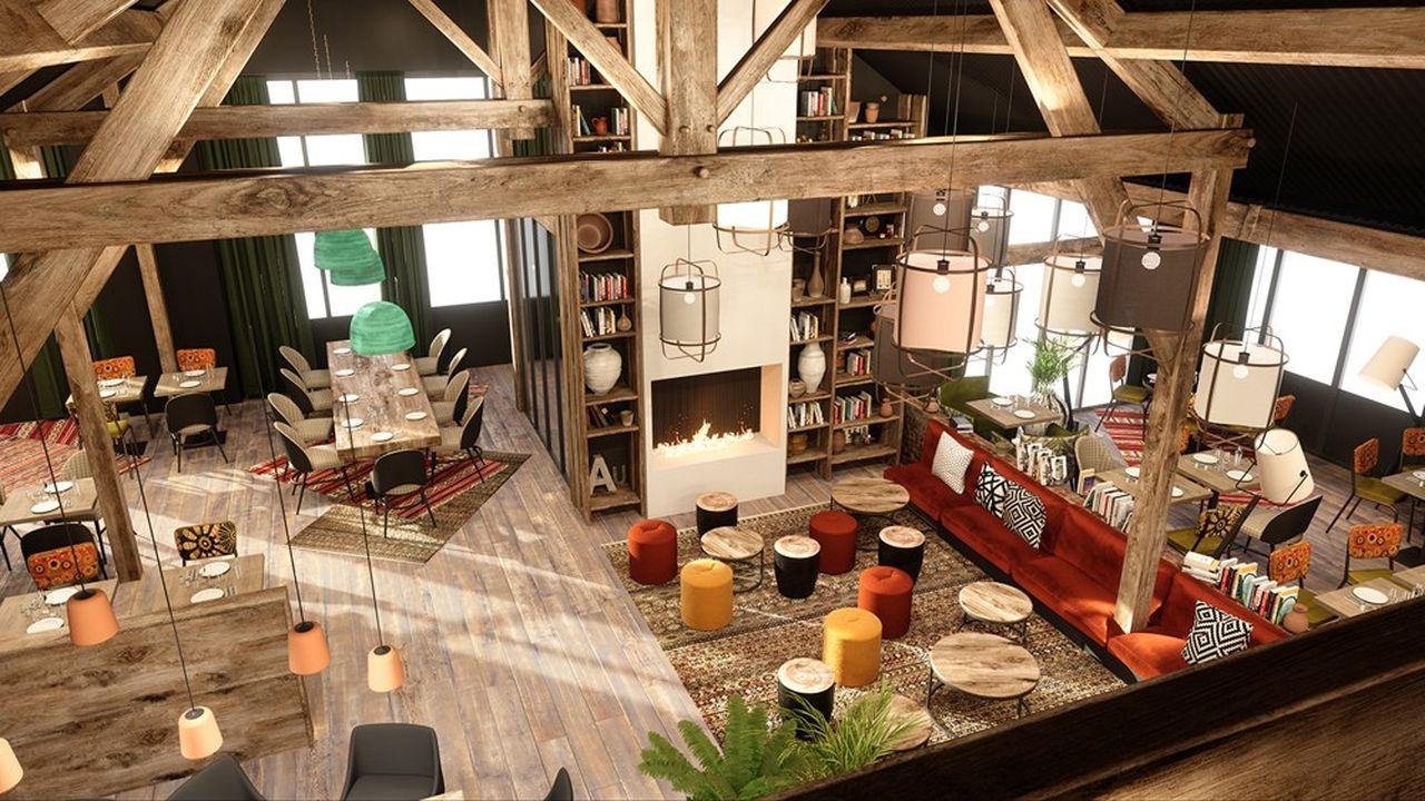 Dans la nouvelle version de La Pataterie, qui sera visible d'abord à Avrainville dans l'Essonne, le mobilier s'adapte à divers modes de consommation au restaurant.