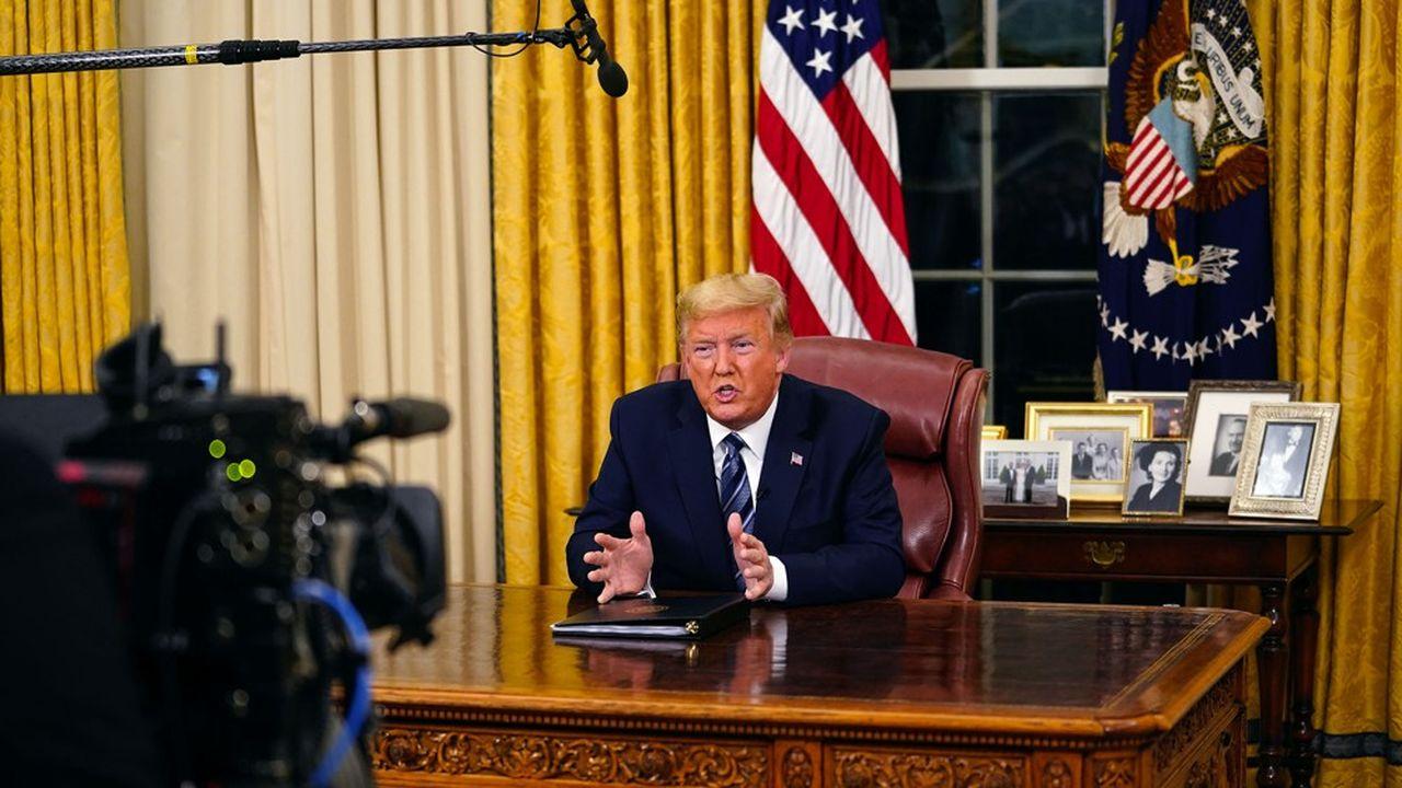 Le Président Donald Trumpannonce le 11mars depuis la Maison Blancheles nouvelles mesures prises pour lutter contre le coronavirus.