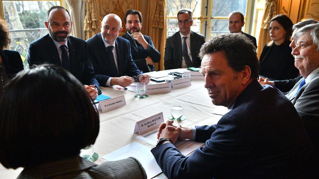 Le président du Medef, Geoffroy Roux de Bézieux, reçu par Edouard Philippe à Matignon le 10janvier sur la réforme des retraites.