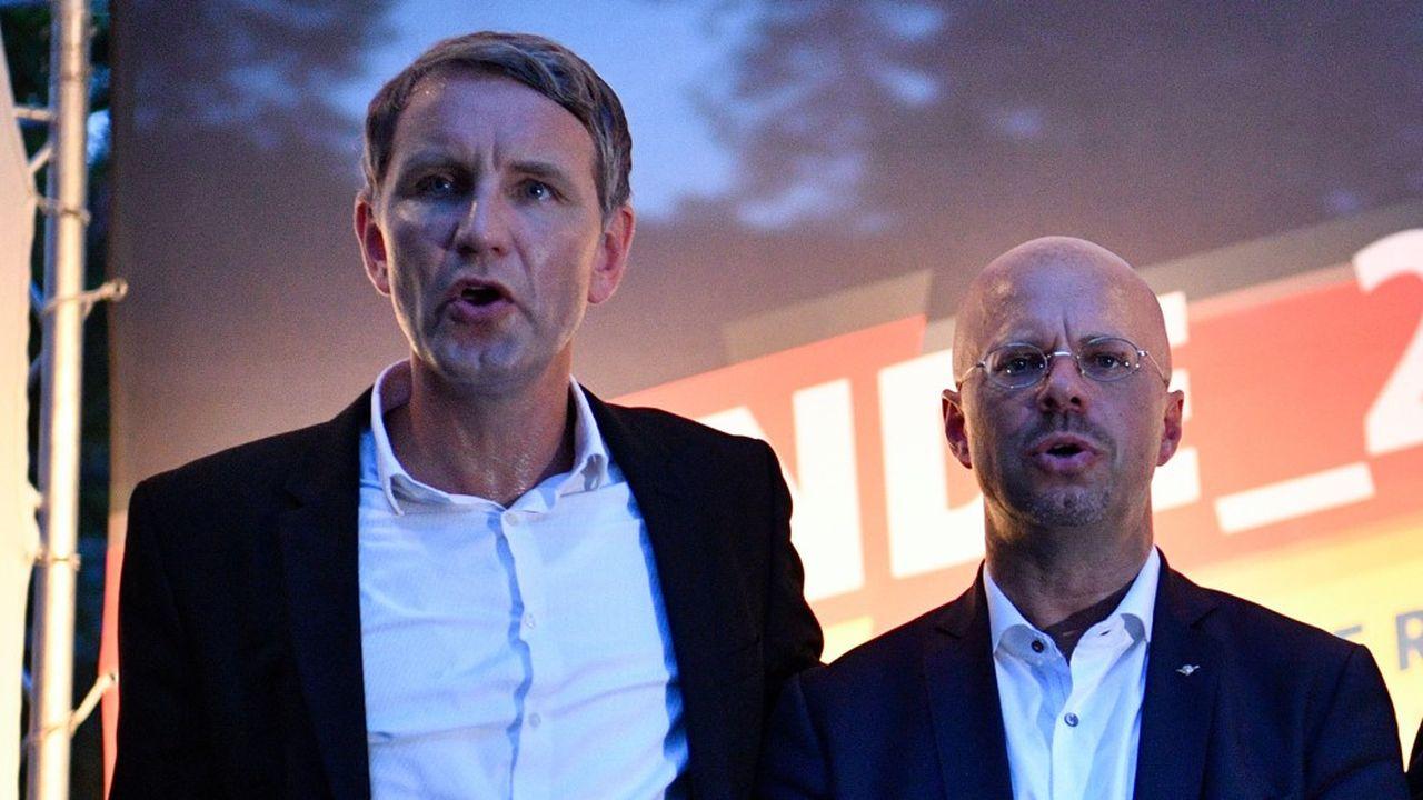 Björn Höcke (g) et Andrea Kalbitz, présidents respectifs du groupe parlementaire de l'AfD en Thuringe et dans le Brandebourg, incarnent «l'Aile», frange radicale du parti.