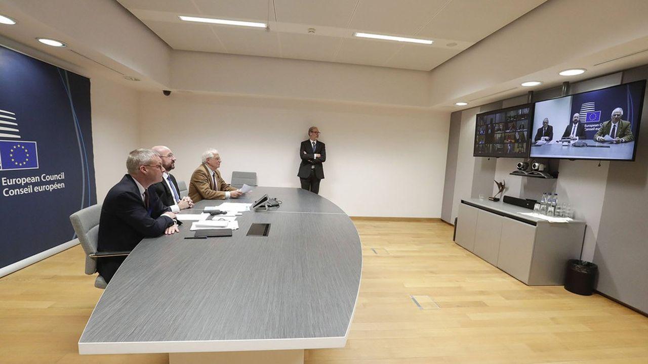 Charles Michel, le président du Conseil européen, à Bruxelles, lors d'une première videoconference des leaders de l'UE, mardi 10 mars.