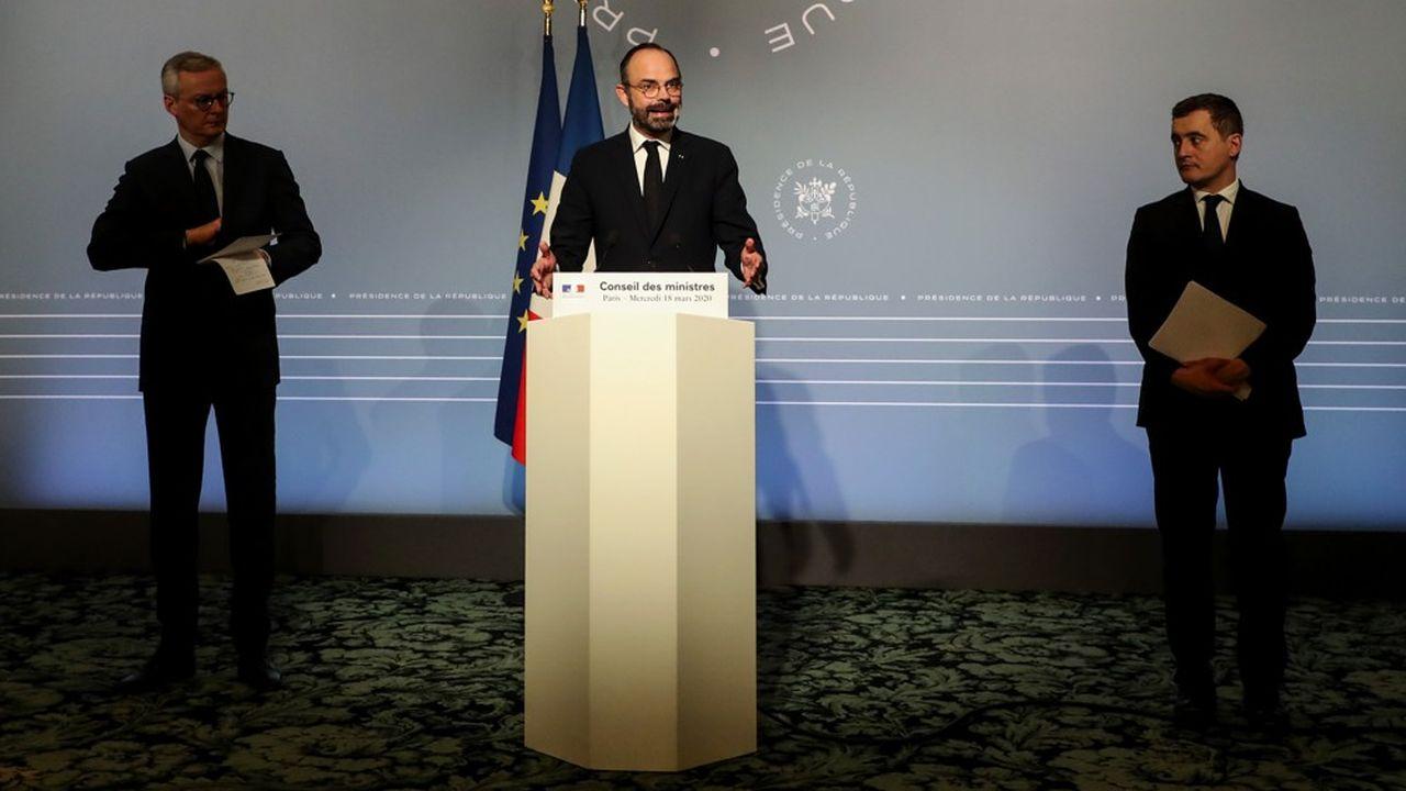 Bruno Le Maire, Edouard Philippe et Gérald Darmanin , à l'issue du Conseil des ministres.