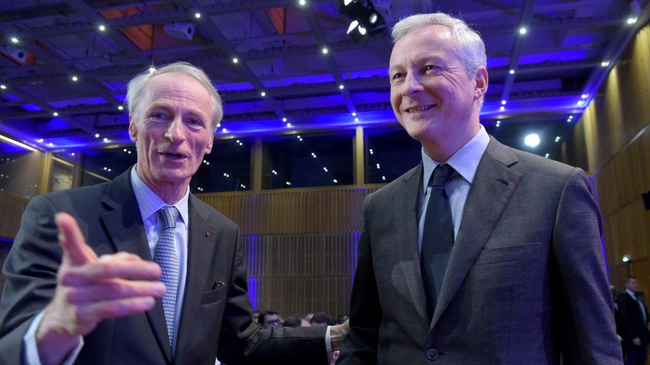 Jean-Dominique Senard (à g.), le président de Renault, a assuré au ministre de l'Economie, Bruno LeMaire (à dr.), qu'il respecterait les délais de paiement à ses fournisseurs.