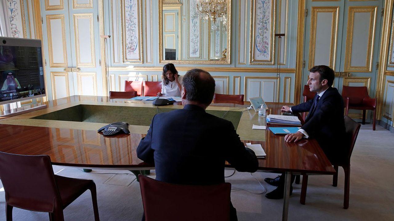 Emmanuel Macron durant la vidéoconférence du G20, jeudi.