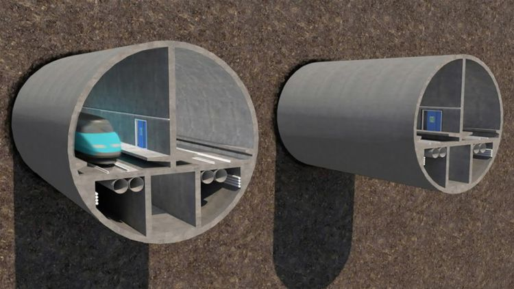 Vue du projet, de plus de 100 km soit deux fois plus long que le tunnel Transmanche. Il abriterait deux lignes de trains à grande vitesse, l'une pour le fret, l'autre pour le transport de passagers.