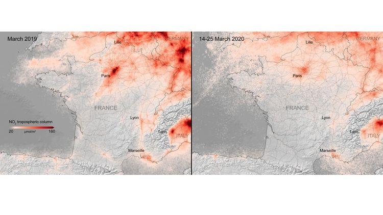 Les cartes diffusées par l'Agence spatiale européenne montrent une chute très importante des concentrations de dioxyde d'azote en France, mais aussi en Espagne et en Italie du Nord.