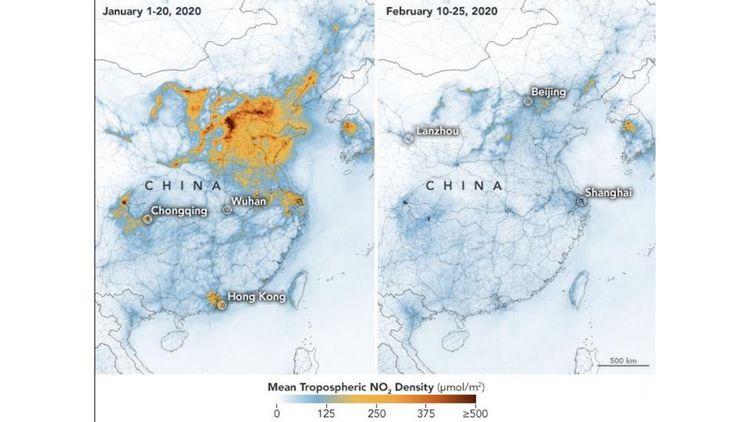 Le niveau relevé de dioxyde d'azote (NO2) dans l'atmosphère au mois de février au-dessus de la Chine était en recul de 10 à 30 % par rapport à février 2019.