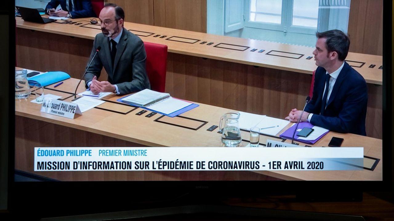 Edouard Philippe et Olivier Veran, lors de leur audition devant la mission d'information de l'Assemblée nationale.