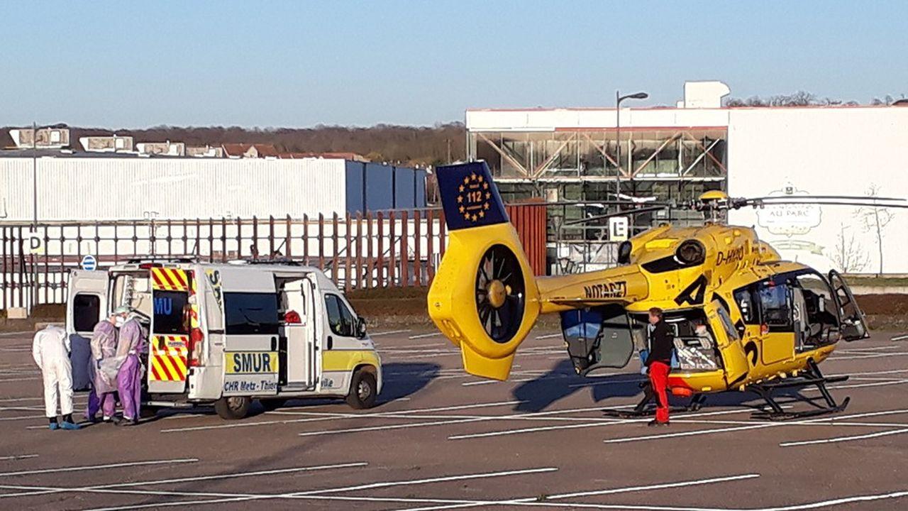 A Metz, le ballet des hélicoptères en direction des hôpitaux de Sarrebruck et d'Essen.