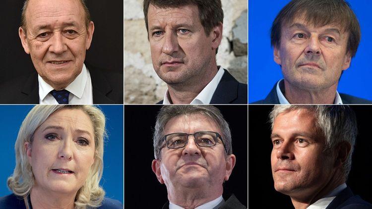 De gauche à droite, en haut: Jean-Yves Le Drian, Yannick Jadot et Nicole Hulot. En bas: Marine Le Pen, Jean-Luc Mélenchon et Laurent Wauquiez.