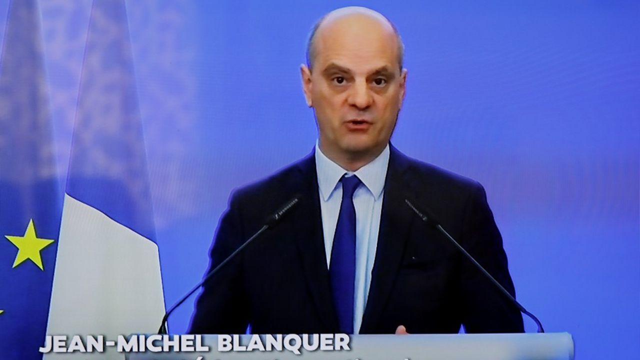 Jean-Michel Blanquer, le ministre de l'Education nationale, lors de sa conférence de presse ce vendredi matin.