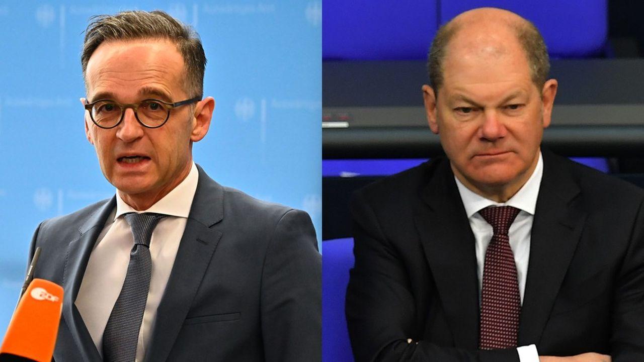 Heiko Maas( à g) ministre fédéral des affaires étrangères et Olaf Scholz (à d) Vice-chancelier et ministre des finances