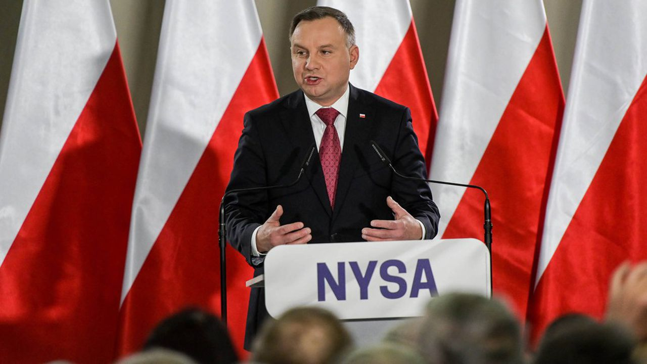 Le président sortant, Andrzej Duda, lors d'un meeting électoralle 7mars à Nysa, au sud-ouest de la Pologne.