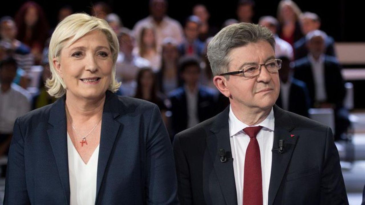 Marine Le Pen, la présidente du Rassemblement national, et Jean-Luc Mélenchon, le leader de La France insoumise.