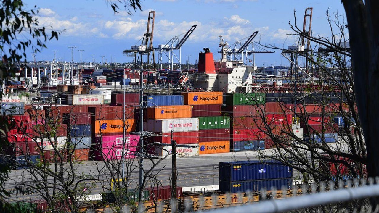 Le trafic de containers, comme ici à Los Angeles, est fortement perturbé.Le transport maritime souffre du Covid-19.