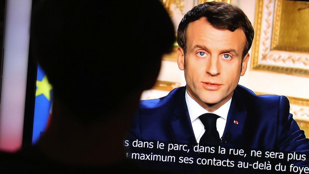 Emmanuel Macron, lors de son allocution télévisée ce lundi soir.