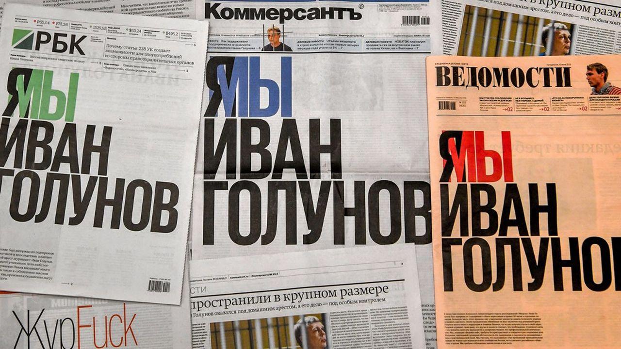 Le 10juin 2019, les trois journaux les plus respectés de Russie, «Kommersant», «Vedomosti» et «RBK», ont mis à la Une ce titre «Je suis, nous sommes Ivan Golunov», en solidarité avec le journaliste russe d'investigation Ivan Golunov, dont l'arrestation pour trafic de drogue, avait provoqué une vague d'indignation dans le pays.