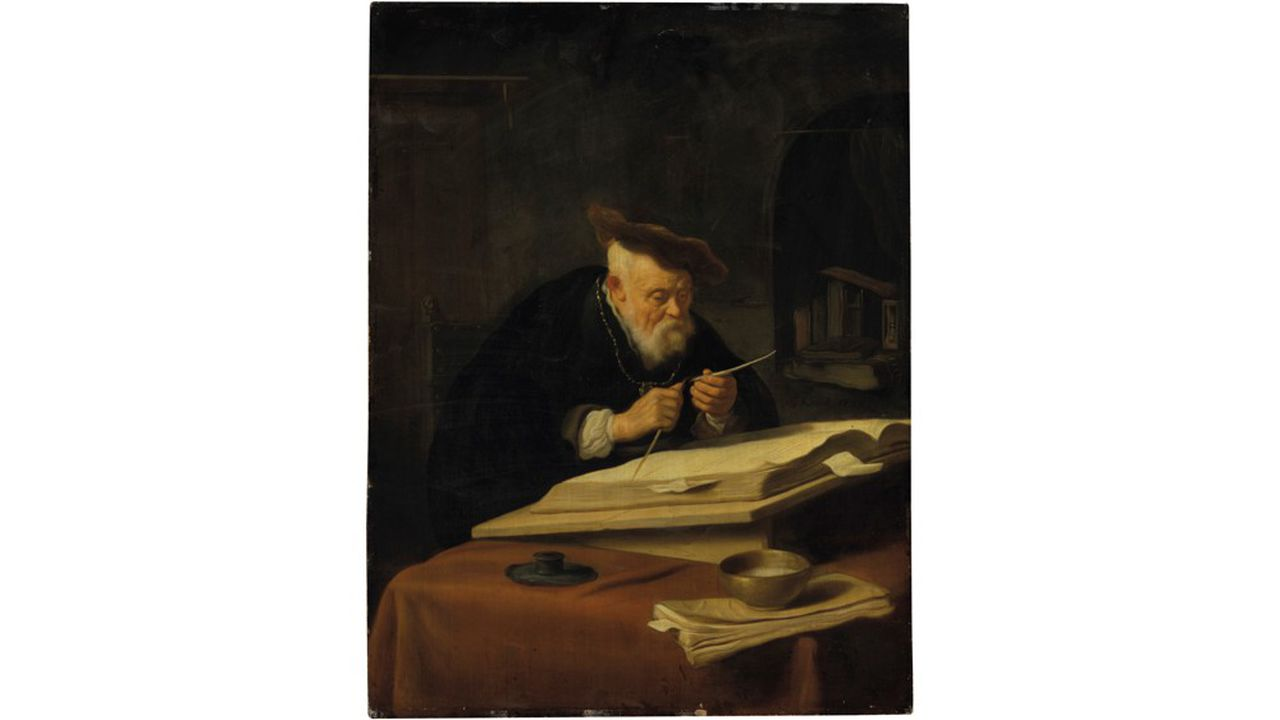 SALOMON KONINCK Amsterdam 1609 -1656A Scholar Sharpening His Quill Signed and dated 'SKoninck 1639'Oil on panel