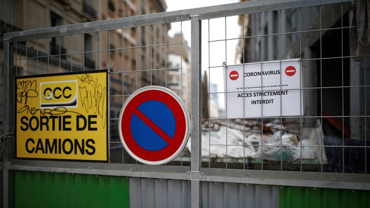 Un chantier de construction parisien à l'arrêt, le 2 avril.