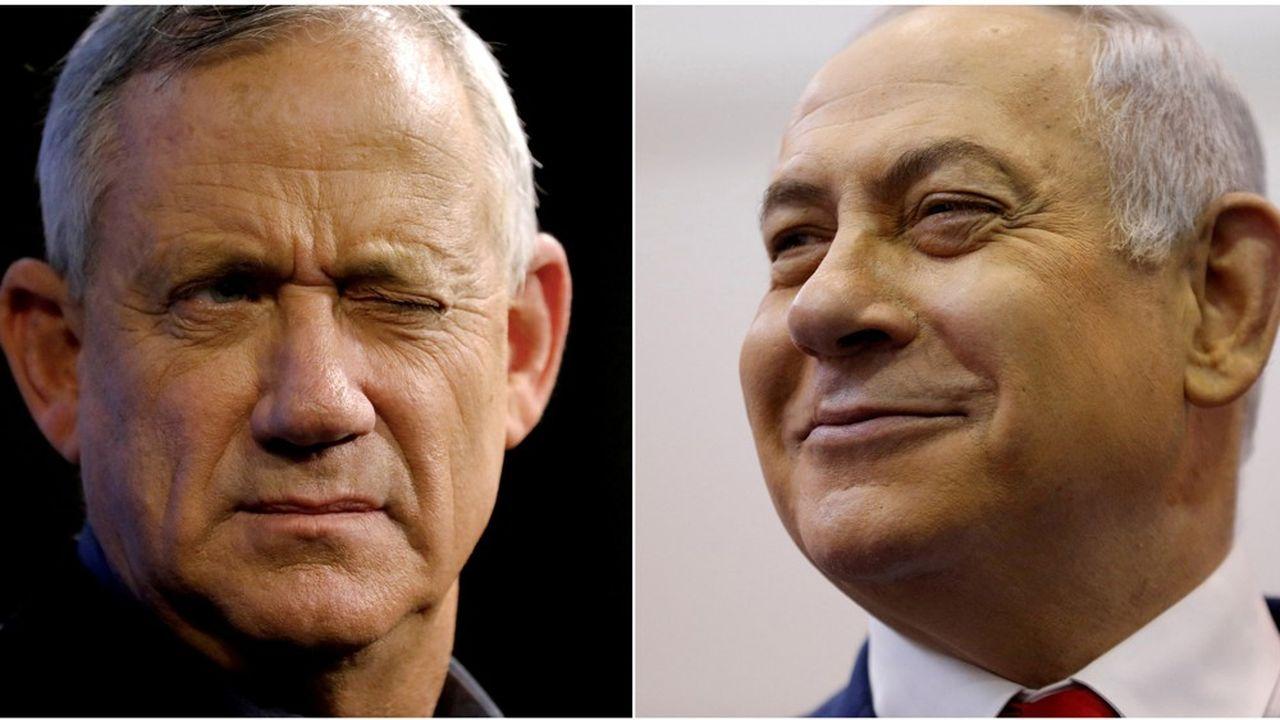 Benjamin Netanyahu, 70 ans, dont 14 à la tête du gouvernement israélien, et Benny Gantz, 60 ans, ancien chef d'état-major de l'armée, se sont retrouvés une nouvelle fois lundi soir.