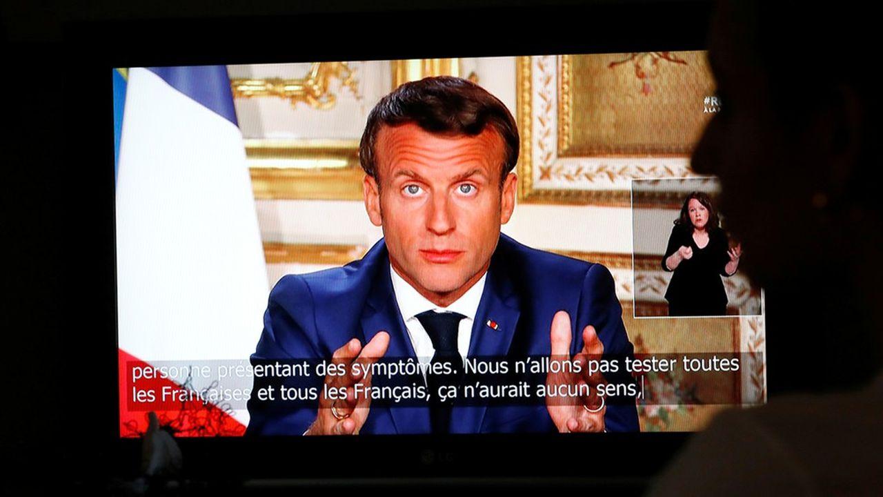 Emmanuel Macron lors de son allocation télévisée le 13 avril dernier.