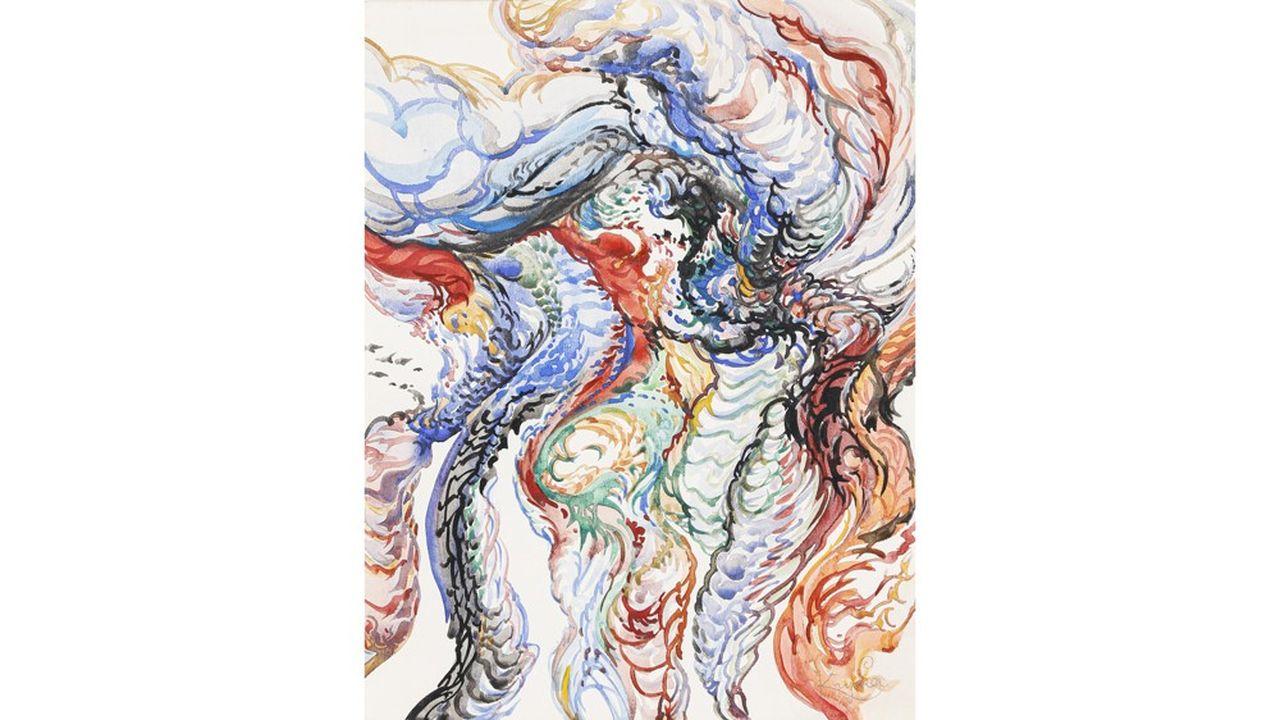Vente du 21 mars lot 21Frantisek Kupka (1871-1957)Composition circa 1920-925Aquarelle sur papier signé au crayon en bas à droite29 x 22,5 cmestimation 15000/25000 €Vendu 45000 € frais compris