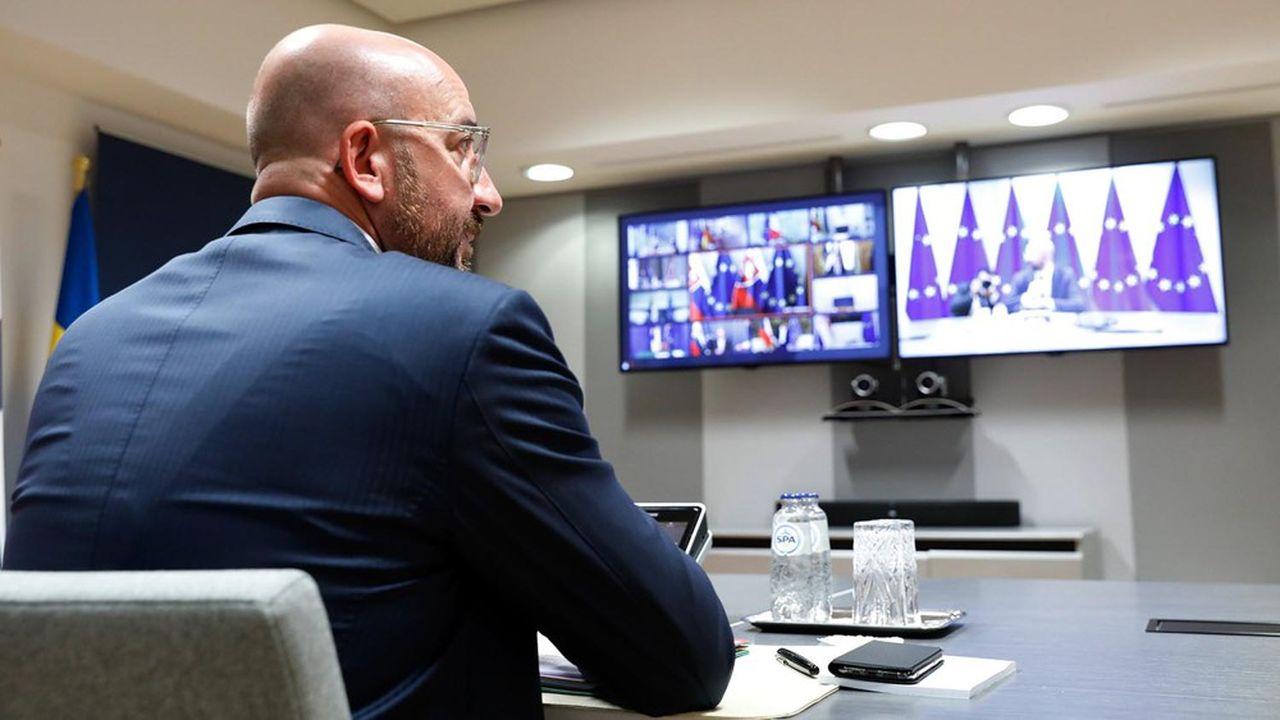 Le président du Conseil européen, le belge Charles Michel, en visio-conférence avec les chefs d'Etat et de gouvernement des Vingt-sept, le 23 avril 2020.
