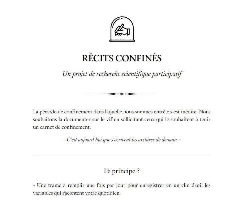 Home page du site Récits confinés