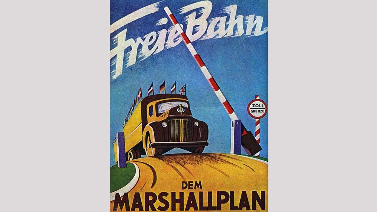 Affiche allemande de l'apres guerre qui annonce l'arrivee en Europe des aides du Plan Marshall pour la reconstruction.