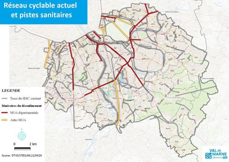 Le réseau cyclable existant dans le Val-de-Marne et les projets de pistes complémentaires