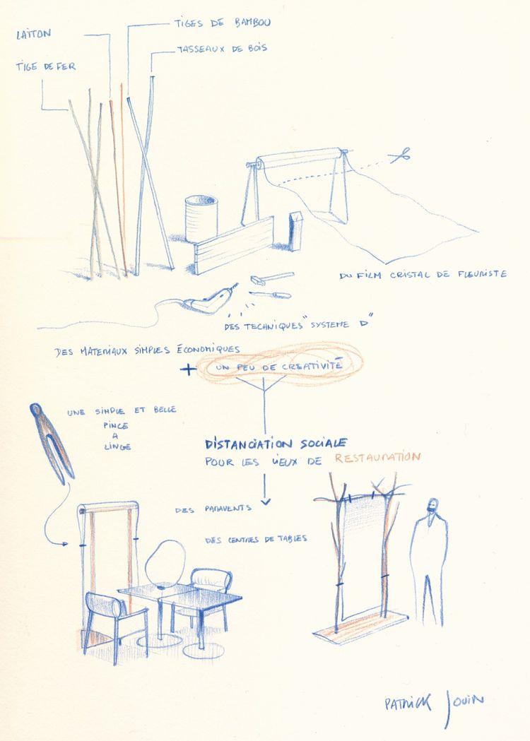 Croquis du designer Patrick Jouin réalisé à la demande d'Alain Ducasse, pour aider ses confrères à concevoir des modules de distanciation sociale.