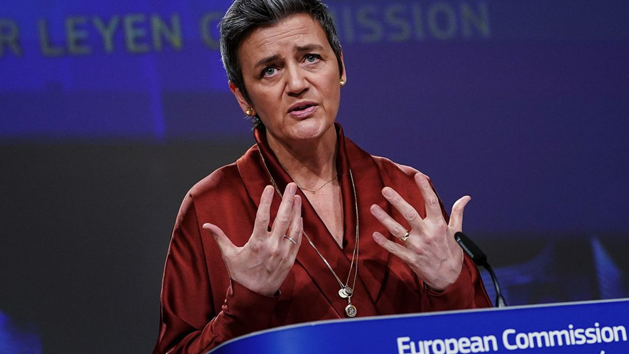 European Commissioner for Competition Margrethe Vestager speaks during a press conference at the Berlaymont building in Brussels on March 10, 2020. (Photo by Kenzo TRIBOUILLARD / AFP)