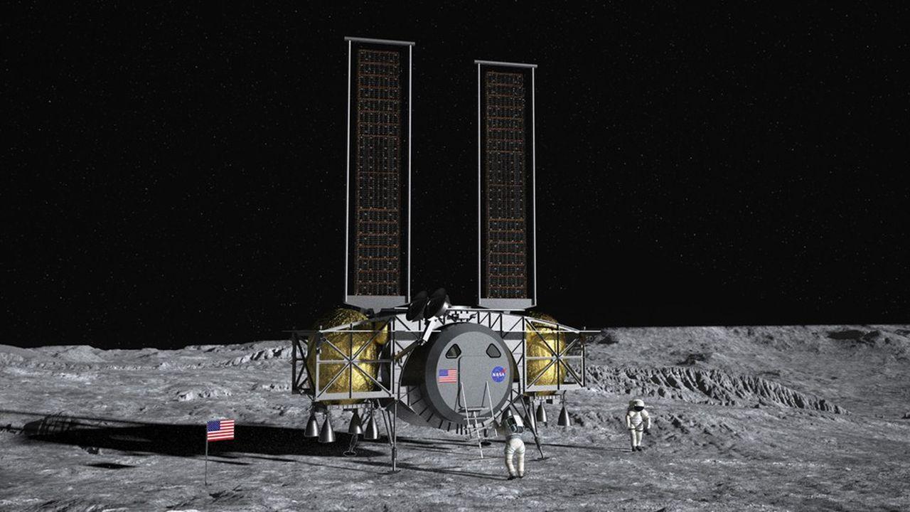 La firme américaine Dynetics présente avec Thales Alenia Space et d'autres industriels un vaisseau lunaire.