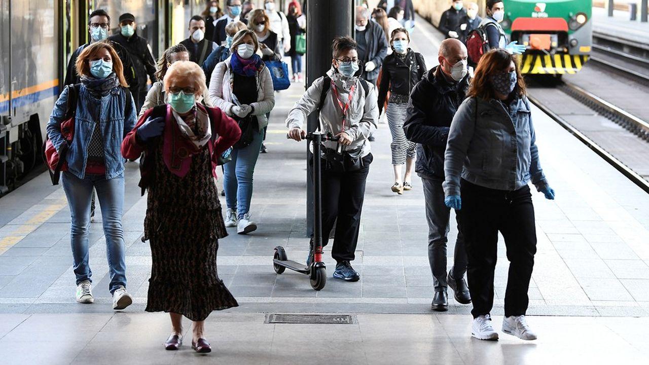 Gare de Milan ce lundi 4 mai, premier jour de déconfinement