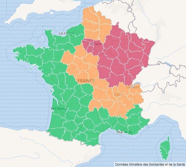 En rouge, les 27 départements où le virus est très actif et les services de réanimation sous tension.