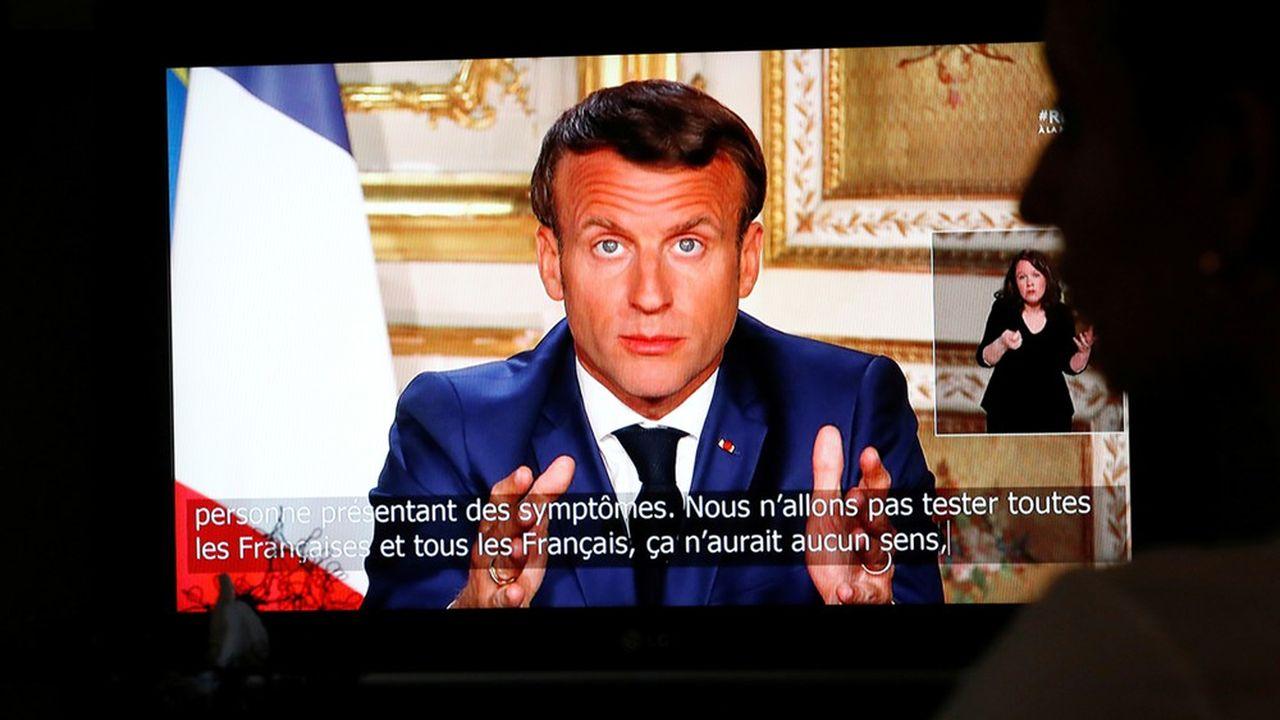 Le président de la République Emmanuel Macron lors de son allocution du 13avril.