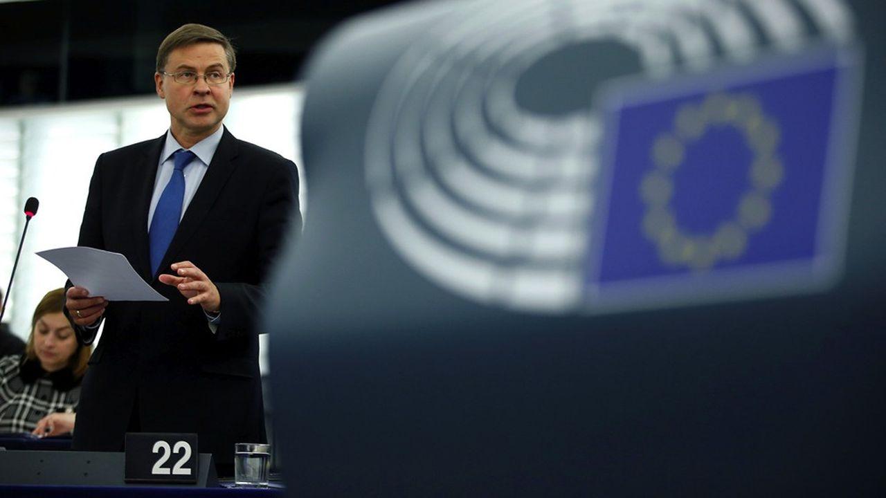 Le vice-president de la Commission européenne, Valdis Dombrovskis, au Parlement européen de Strasbourg, le 14 janvier.