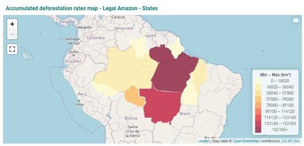 Carte des taux cumulés de déforestation en Amazonie brésilienne, calculé par l'INPE.