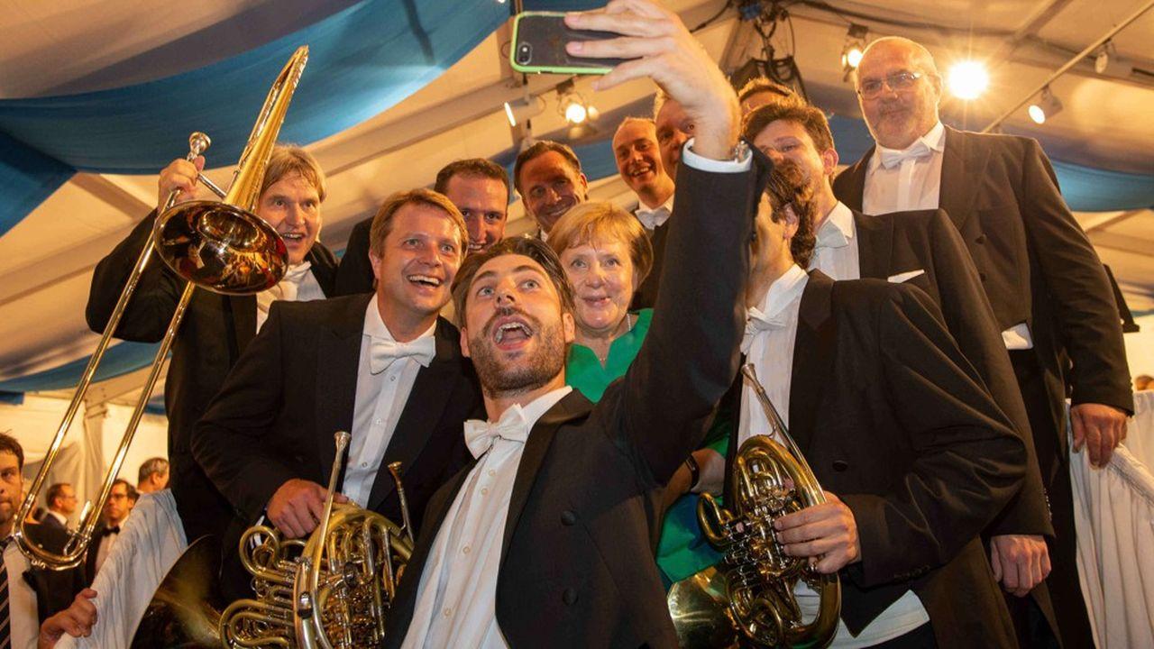 Amatrice d'opéra, la chancelière Angela Merkel ne manquait jusqu'à cette année aucun festival de Richard Wagner à Bayreuth, comme ici en juillet2018