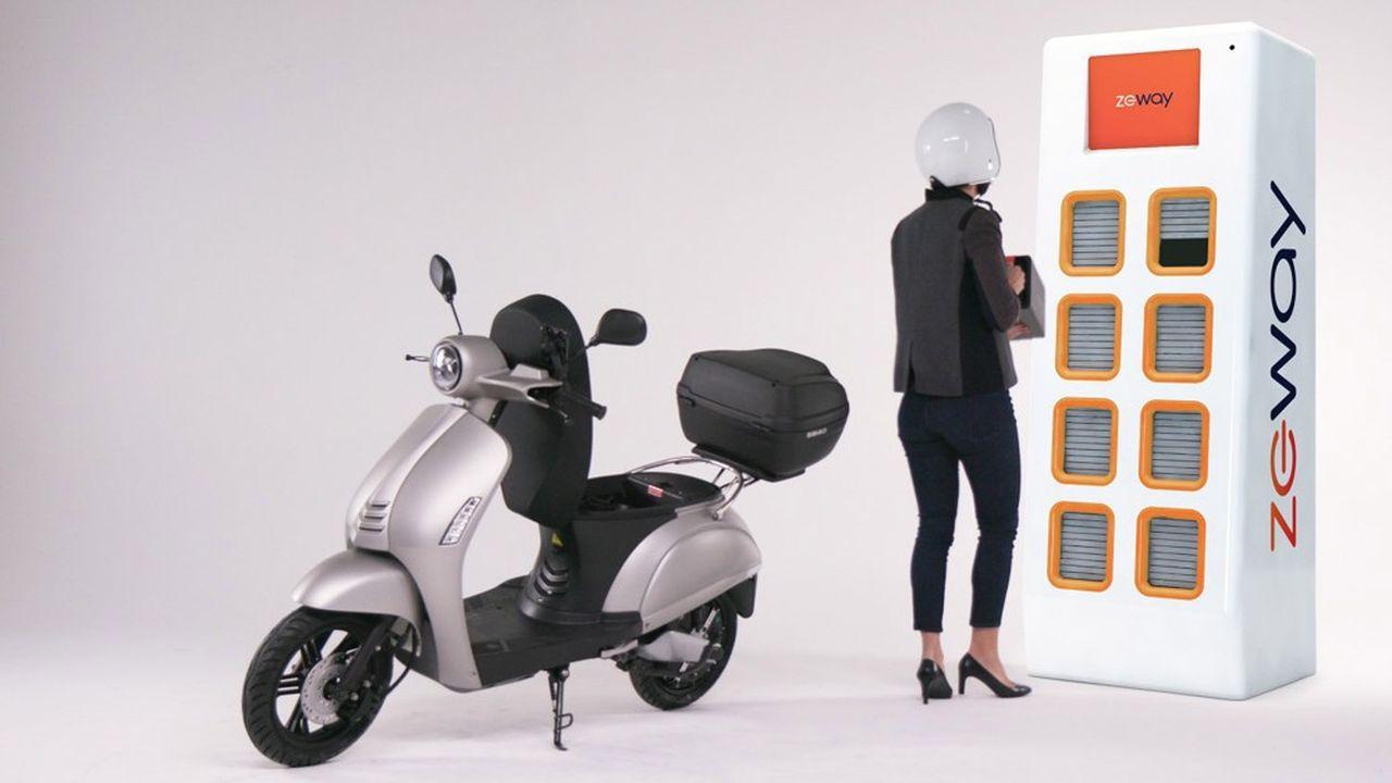 L'offre de location de Zeway associe un scooter électrique à batterie interchangeable à un réseau de petites stations d'échange et de recharge de batteries.