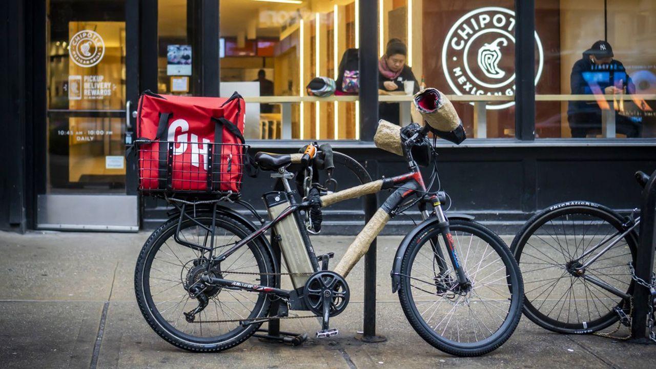 Un vélo de livraison de GrubHub à New York, en janvier2020