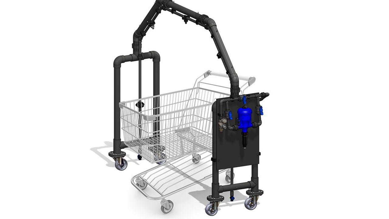 Réalisé en PVC et d'un poids global de 22 kilos, l'Arc'Protect a la capacité de désinfecter de l'ordre de 200 chariots en une heure.