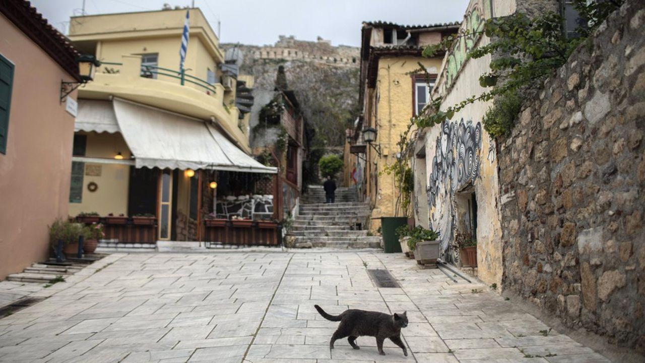 Le quartier de Plaka à Athènes complètement désert pendant le confinement décrété le 23mars en Grèce.