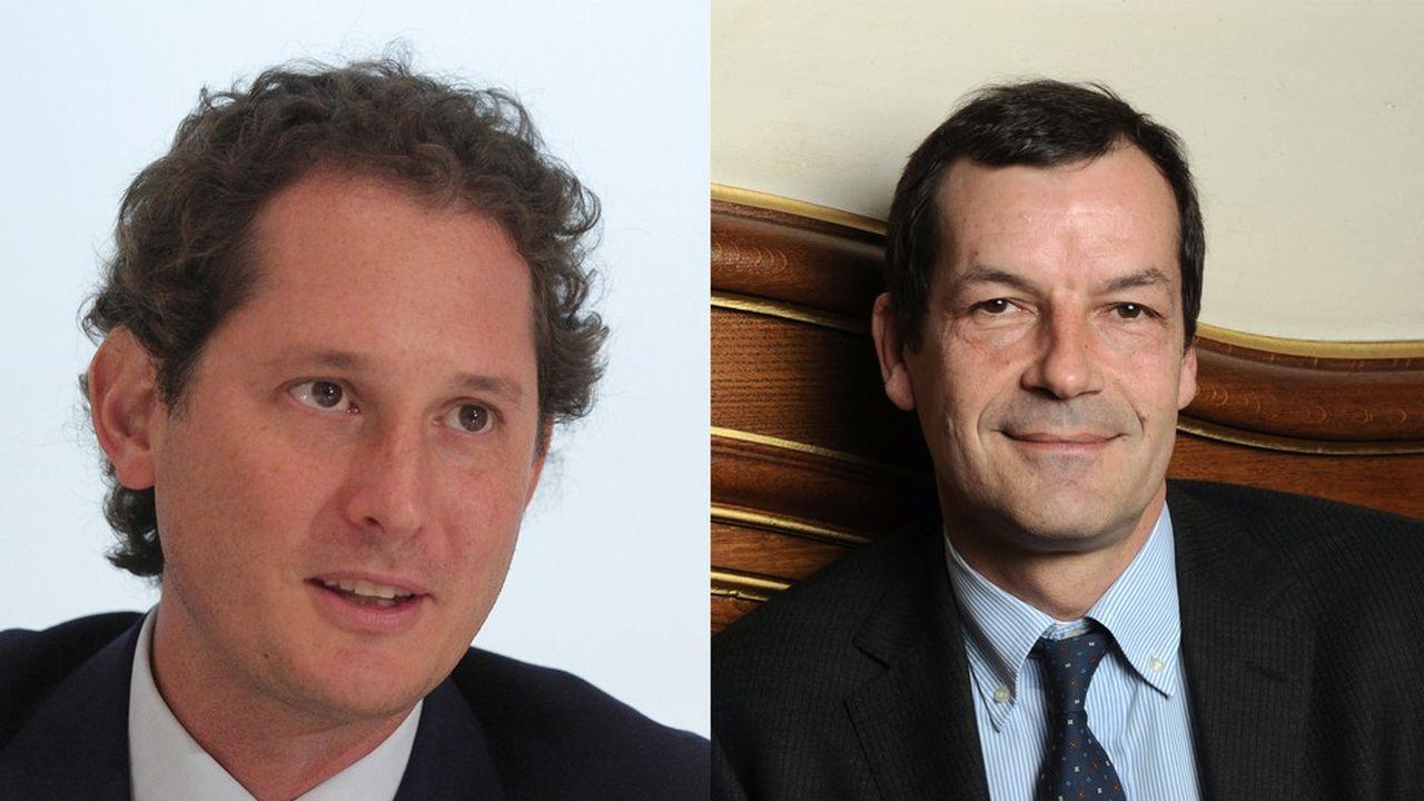 A droite, John Elkann, président du conseil d'administration d'Exor et Thierry Derez, président-directeur général de Covéa.