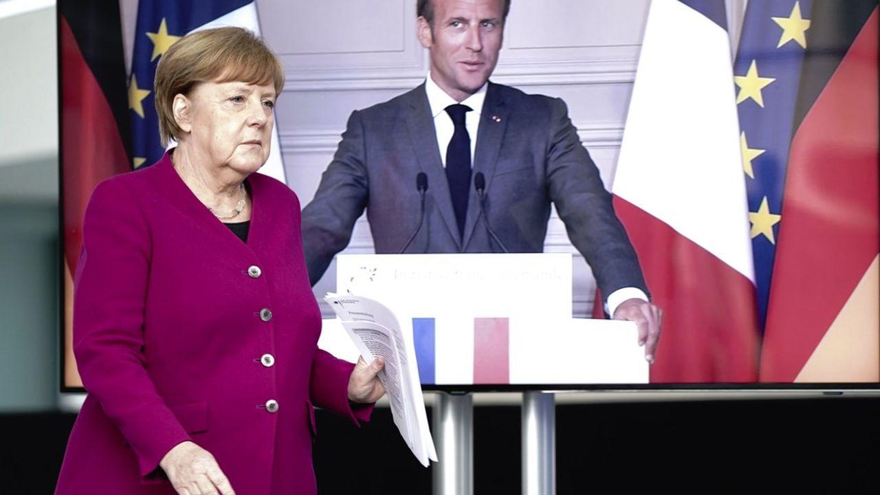 A défaut de rencontre physique, Angela Merkel et Emmanuel Macron tiennent leur réunion par visioconférence ce lundi.