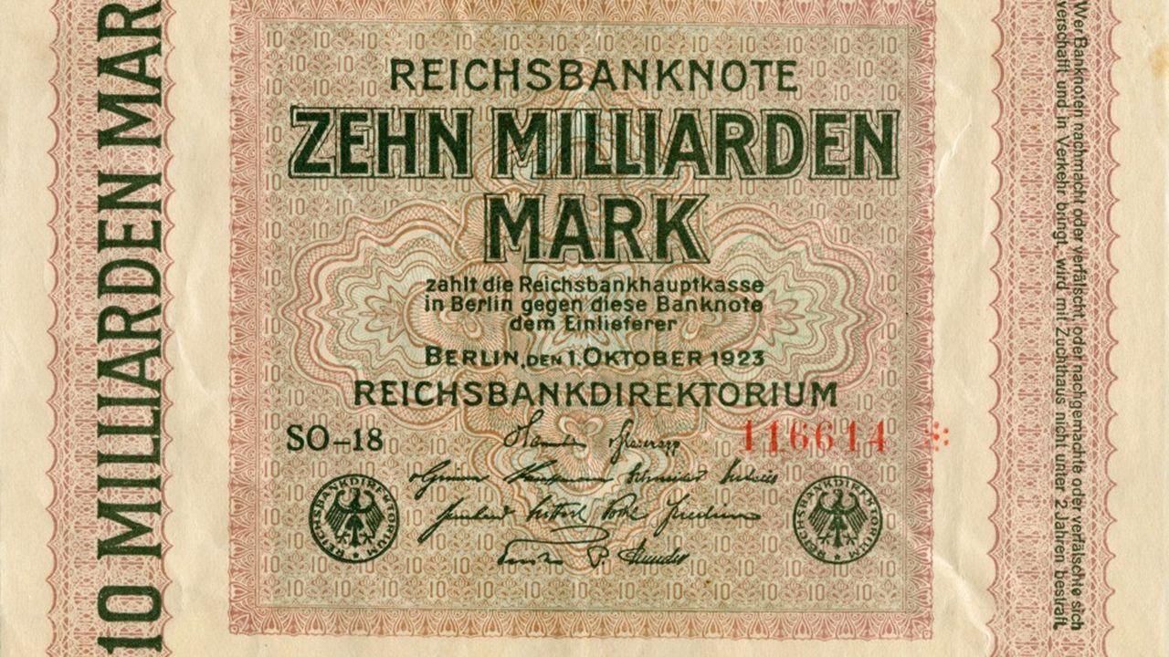 Un billet de 10 milliards de Mark émis le 15 septembre 1923 durant la période d'hyperinflation de la République de Weimar.