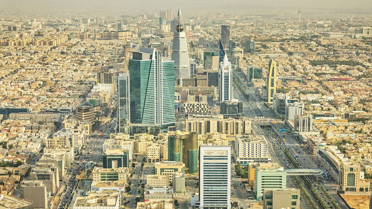 Downtown Riyadh Saudi Arabia as seen from above on a sunny day.