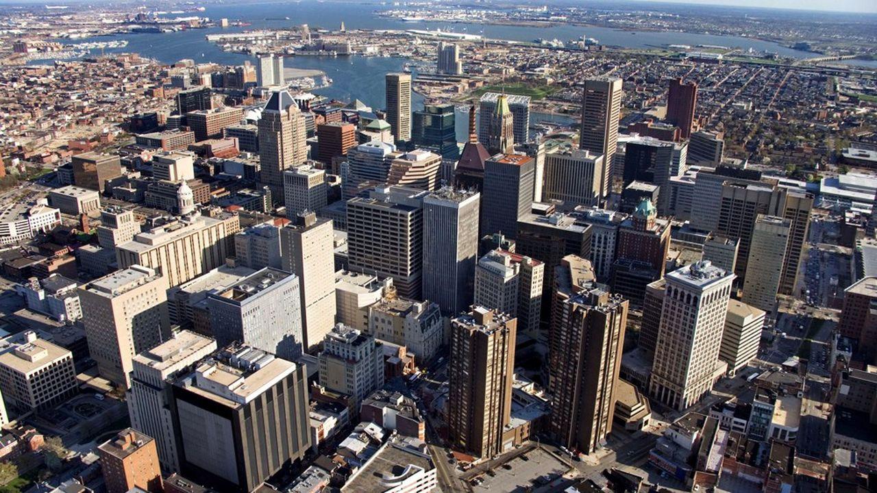 Vue aérienne de Baltimore, Maryland.